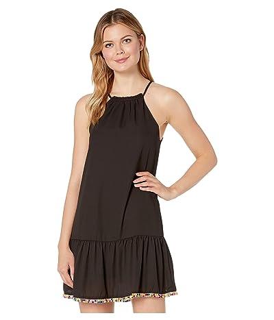 American Rose Ariana Spaghetti Strap Dress with Pom Poms (Black) Women