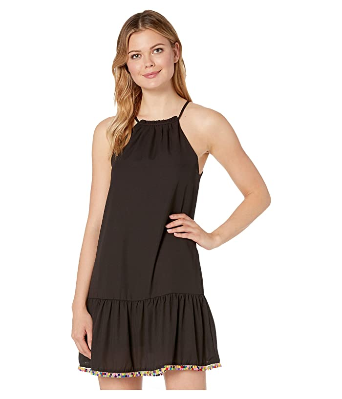 American Rose Ariana Spaghetti Strap Dress with Pom Poms (Black) Women