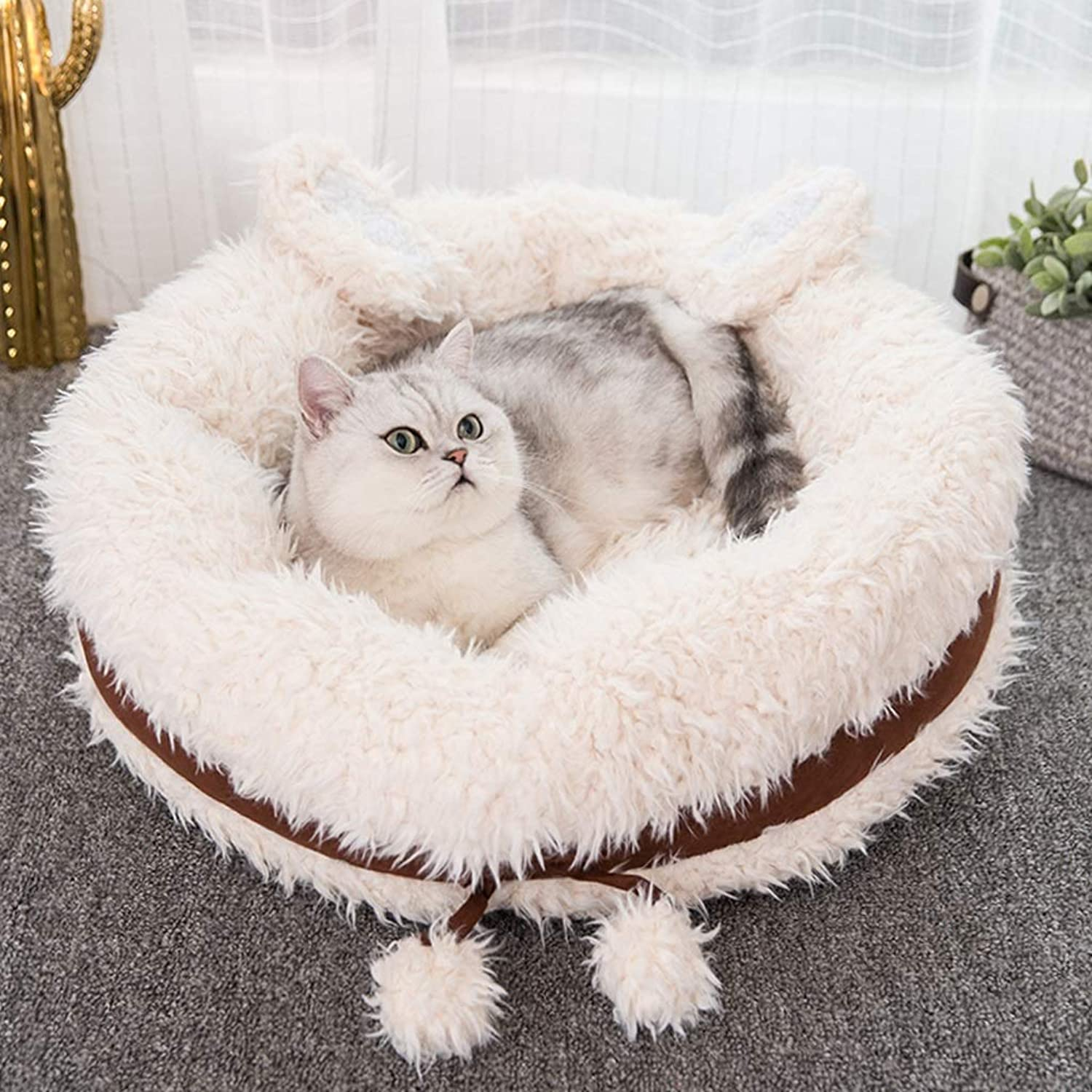 KGMYGS Winter Warm Cat Litter Thick Closed Design Four Seasons Universal Pet Bed Cat Supplies, Pink bluee Brown Pet bed (color   BROWN, Size   55CM)
