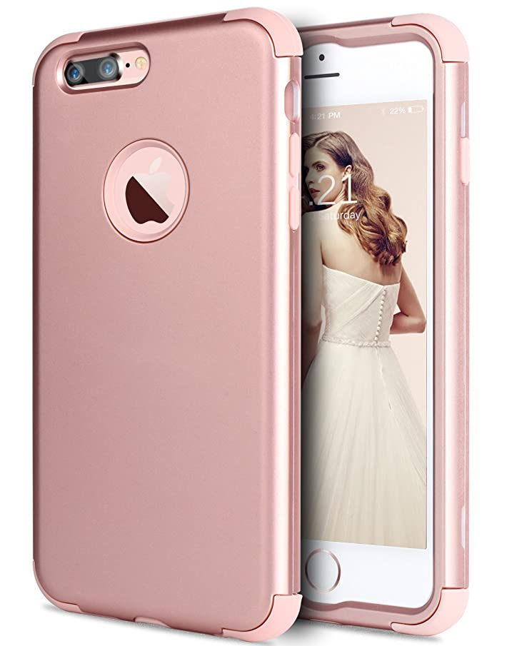 iPhone 7 Plus Case,BENTOBEN Slim 3 in 1 Heavy Duty Shockproof Drop Protection Hybrid Hard PC Cover Soft Silicone Bumper Full-Body Protective Phone Case Cover for iPhone 7 Plus(5.5 inch),Cute Rose Gold