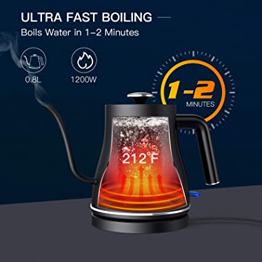 Ulalov Electric Gooseneck Kettle, 100% Stainless Steel Ultra Fast Boiling Hot Water Kettle for Pour Over Coffee & Tea, Le