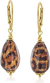 Italian Leopard Murano Glass Drop Earrings in 18kt Gold...