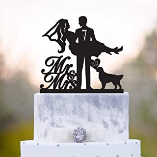Mr And Mrs Cake Topper With Black Lab Golden Retriever Cake Topper Mr N Mrs Cake Topper With Labrador Dog Wedding Cake Topper With Dog