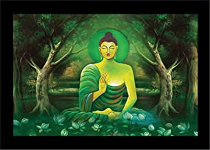 LIFEHAXTORE® Xtore Blessing Buddha Art Framed Painting | Ready to Hang | adds Soothing Effect to Environment (Wood, 12inch...