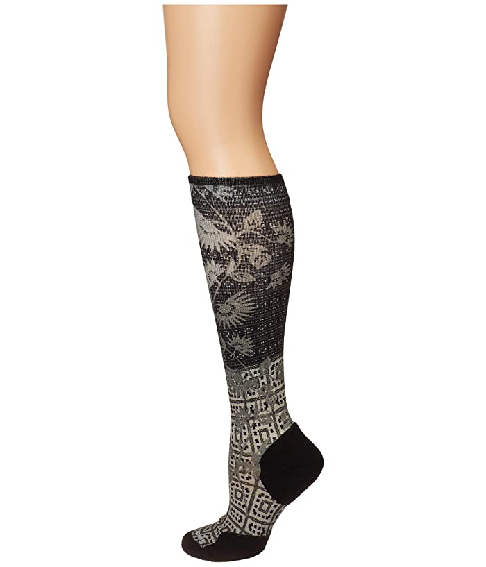 Smartwool  Compression Sightseeing Sunflower Print OTC (Charcoal) Womens Crew Cut Socks Shoes