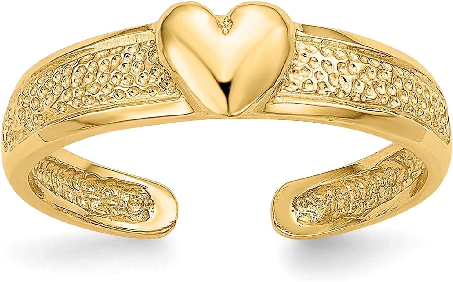 14k Yellow Gold Single Polished Heart Toe Ring with Textured Band