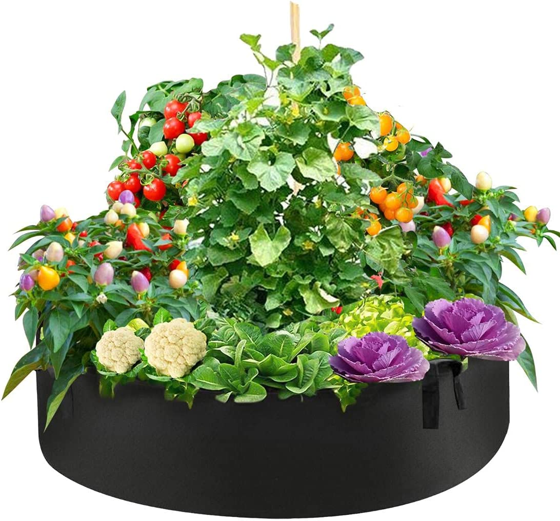 50 Gallon Plant Grow Bags Beds Raised Garden Fabric Round 5 ☆ very popular Free Shipping New
