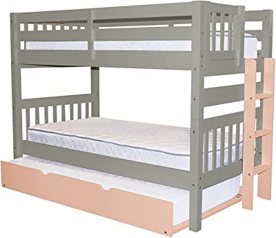 Amazon Com We Furniture Solid Wood Twin Bunk Bed White Kitchen