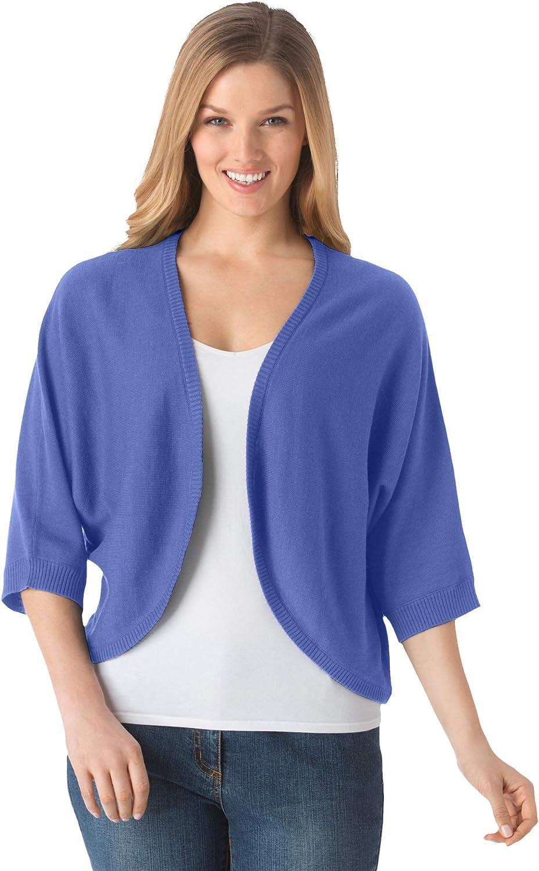 Woman Within Women's Plus Size Rib Trim Cardigan Shrug Sweater