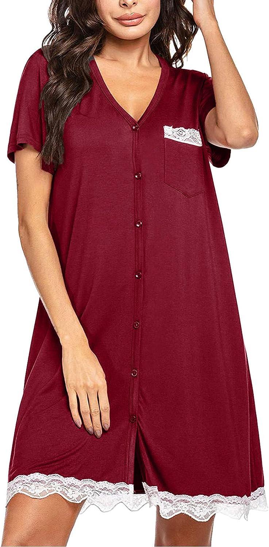 Wallity Button Down Nightgowns Louisville-Jefferson County Mall for Women Lengt Knee Popular brand Short Sleeve