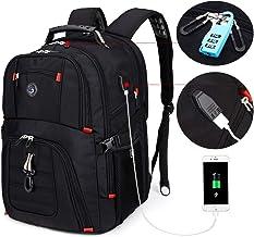 SOLDIERKNIFE Extra Large Durable 50L Travel Laptop Backpack School Backpack Travel Backpack College Bookbag with USB Charging Port fit 17 Inch Laptops for Men Women Including Lock Black
