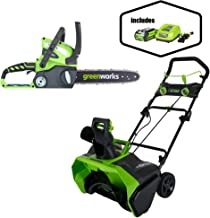 Greenworks 12-Inch 40V Cordless Chainsaw, Battery Not Included 20292 with 20-Inch 40V Cordless Snow Thrower, 4.0 AH Battery Included 26272