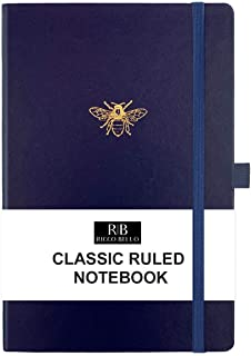 RICCO BELLO Classic College Ruled Hardcover Journal Notebook, Elastic Band Closure, Pen Holder, Vegan Leather, 5.7 x 8.4 inches (Navy Bee)