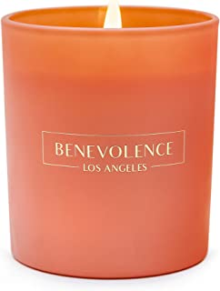 Benevolence LA Scented Candles Aromatherapy - All Natural Soy Wax Strong Fragrance of Rose Sandalwood Jasmine Bergamot with Matte Black Glass Gift Boxed (Tudor Rose & Amber)