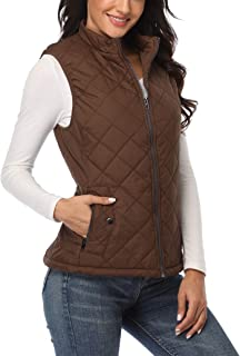 MISS MOLY Women Quilted Vest Zip Up Stand Collar Lightweight Padded Vest Jacket Winter Outwear