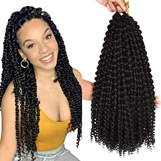6 Packs Passion Twist Hair 14inch Water Wave Synthetic Braids for Passion Twist 22 Roots Short Bohemian Curly Crochet Braiding Hair Extensions (14inch, 1B)