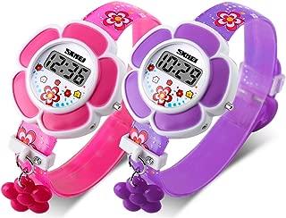 Kids Watch Girls 2 Pieces Flower Shape Watch GRyiyi Novelty Cartoon Digital Wrist Watch Age for 3-5(Pink+Purple)