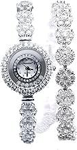 Fashion Ladies Watch 925 Sterling Silver Cubic Zircon Bracelet Wristwatch