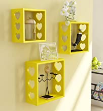 Home Sparkle 3 Cube Wall Shelves Engineered Wood (Yellow)