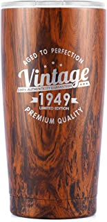 Vintage 1949 70th Birthday Gifts for Men Women Insulated Stainless Steel Tumbler | 70 Year Old Presents 20 oz Wood Pattern | Best Gift for Mom Dad Wife Husband | 70th Party Decorations Supplies