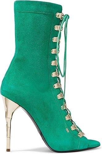NVXIE Femmes Sandales Sandales Chaussures Talon Haut Bottes fraîches Daim Bouche de Poisson Printemps été Mariage Soirée Club  Style classique