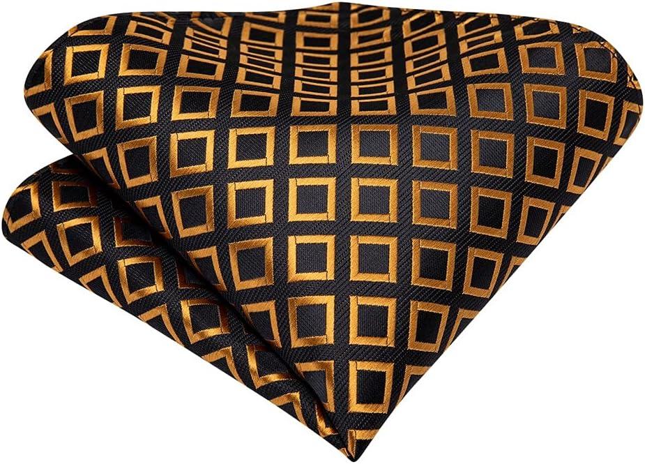 EEKLSJ Gold Check Black Vintage Silk Cravat Neck-Tie Scrunch Men Wedding Formal Self Tie Necktie Pocket Square Set (Color : A, Size : One Size)