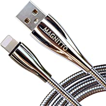 MAGNITTO USB Charging Cable Metal Braided Cord, Strong and Durable Premium Wire, Tangle Free, Charge and Data sync at high Speed (2.4amp, 3.3ft, Silver Charger Cable)