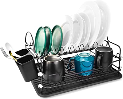 LeFroom Dish Drying Rack, 2 Tier Dish Rack with Utensil Holder, Cup Holder and Dish Drainer for Kitchen Counter Top, Plated Chrome Dish Dryer