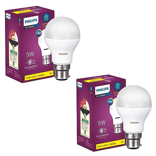 PHILIPS 9W B22 LED Warm White Bulb, Pack of 2