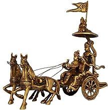 Chariot - Horse Cart - Arjun Rath at The Time of Geeta Shar in Mahabharat War Light Brown Antique Finish - Metal Brass Hom...