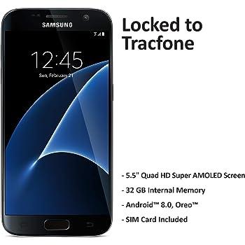 TracFone Samsung Galaxy S7 4G LTE Smartphone prepago (bloqueado) - Negro - 32 GB - Tarjeta SIM incluida - CDMA
