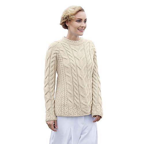 6bd1c15552 Aran Woollen Mills - Carraig Donn Ladies Irish Multi Cabled Raglan Super  Soft Merino Wool Sweater