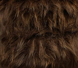 Faux Fur Fabric Long Pile Monkey Shaggy BROWN / 60