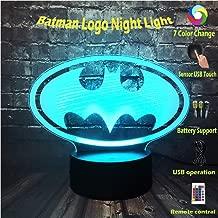DC Series Movie Multi-Colored Legend Justice League Batman Logo 3D RGB Lamp LED Night Light USB Touch Remote Base Change Desk Table Boy Gift Visual Illusion Optical Child Kid Toy(Batman Logo)
