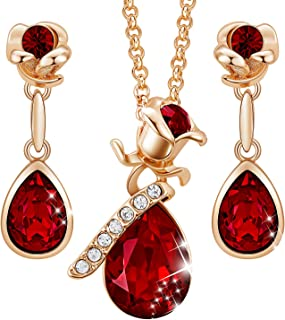 CDE Necklace for Women 18K Rose Gold Plated Jewelry Set Embellished with Crystals from Swarovski Jewelry Gift for Women