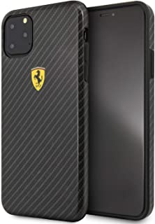 ferrari Shockproof Printed Carbon Effect for iPhone 11 Pro Max - Black