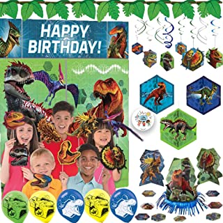 Ultimate Jurassic World Birthday Party Decoration Pack With Scene Setter and Photo Props, Swirls, Honeycomb and Table Decorations, Balloons, Leaf Banner and Exclusive Pin