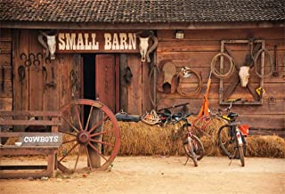 Yeele 8x6ft Cowboy Photography Background Vintage Rural Barn Backdrop Western Cowboy Haystack Bike Old Wheel Hub Horseshoe History Culture Rural Barn Photo Backdrops Pictures Photoshoot