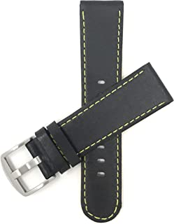 Mens Leather Watch Band Strap, Racer, Sport, Slim, Round Tip, Black with 6 Different Colored Stitch Options (20mm, 22mm, 24mm, 26mm)