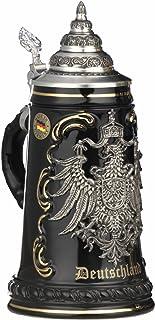 King German Beer Stein black Deutschland pewter eagle Stein 0.5 liter tankard, beer mug KI 415-SZA 0,5L Deutschland