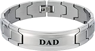 Elegant DAD & Father Themed Men's Wide Bracelet Surgical Grade Steel, Many Styles to Choose from