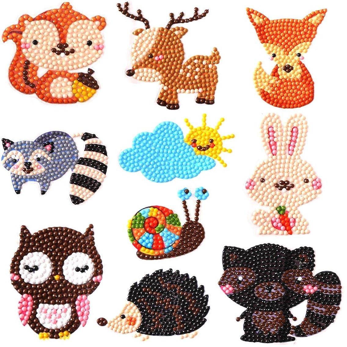 Mini 5D Diamond Painting Stickers Animals Fruits Cactus DIY Resin Cross Stitch Kit Home Decor Craft (Animals)