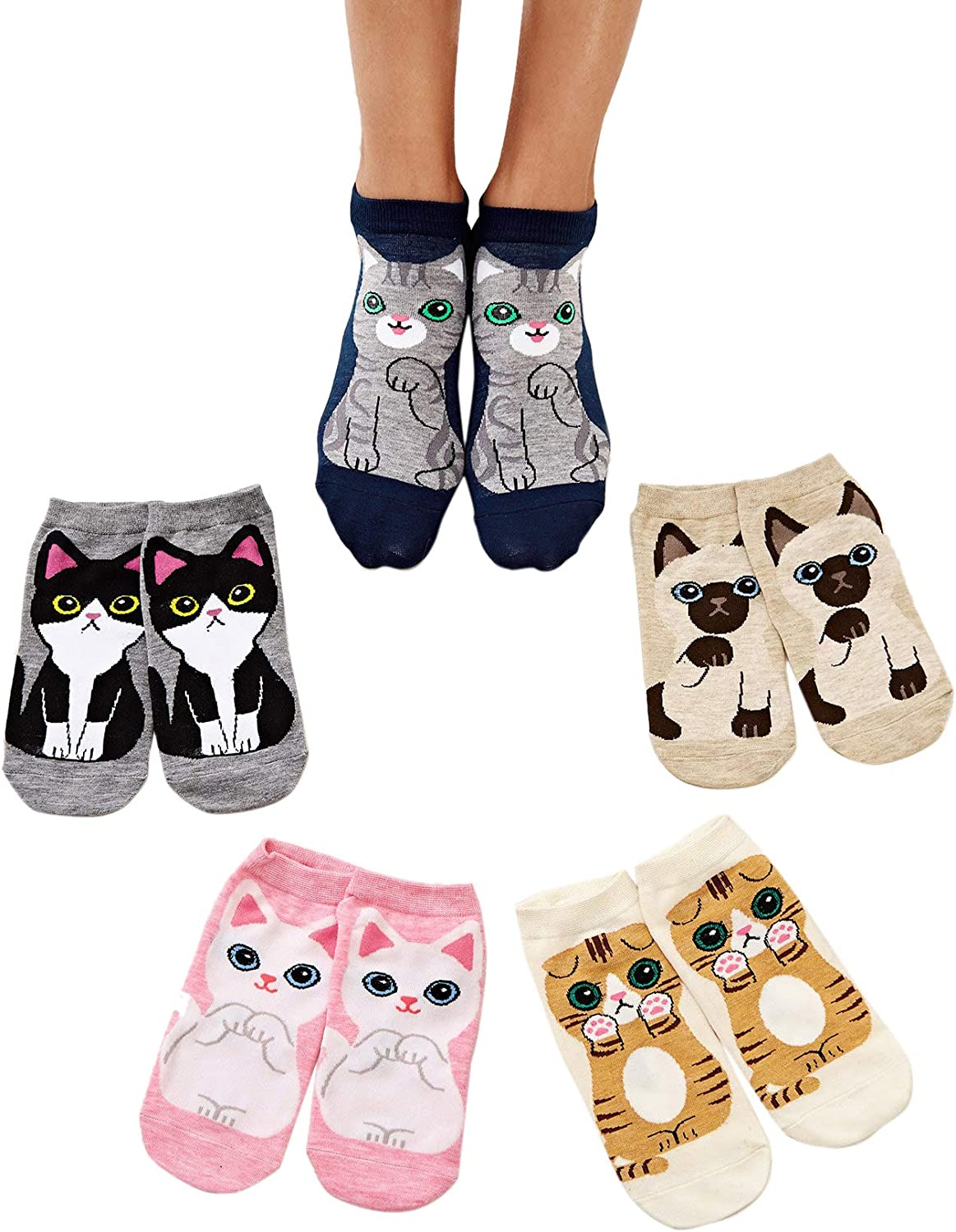 Milumia Women Cute Casual Cartoon Cat Print Cotton Comfy Ankle Socks 4 Pairs 5 Pack