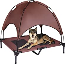 Outdoor Elevated Dog Bed with Removable Canopy, Portable Raised Dog Bed for Camping or Beach, Frame with Breathable Mesh