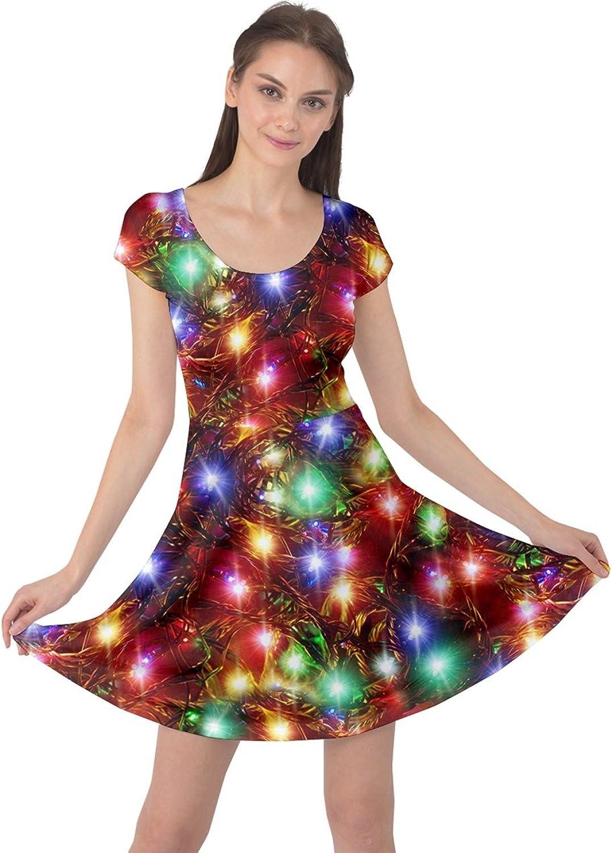 CowCow Womens Winter Christmas Tree Santa Deer Xmas Vintage Snowman Short Sleeve Dress, XS5XL