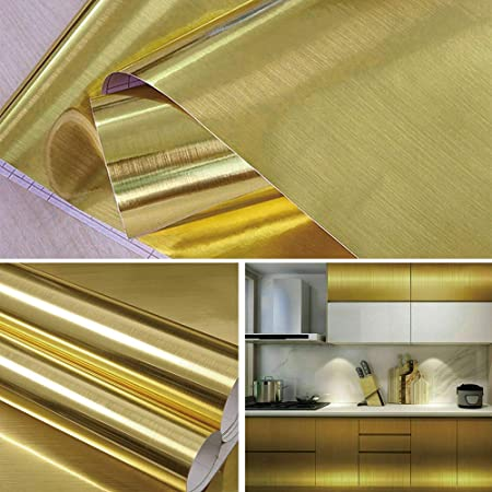 Livelynine Gold Contact Paper Decorative Wallpaper Stick and Peel Metal Look Copper Vinyl Adhesive Gold Wraping Paper for Party Letters Crafts Removable Waterproof Countertops Cabinets 15.8x78.8 Inch