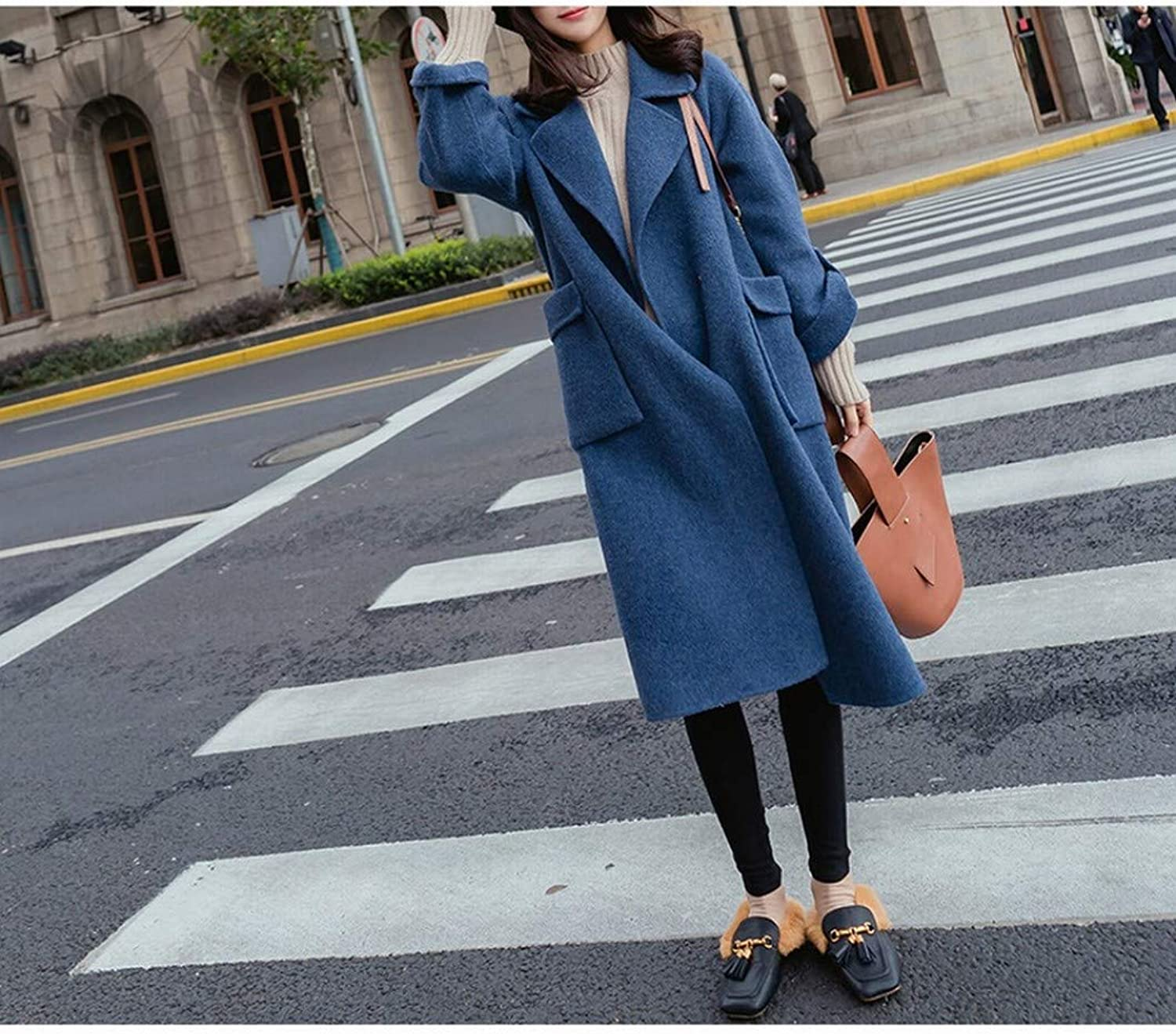 Woolen Coat, Female MidLength Autumn and Winter Coat, Loose Thin and Thick Woolen Coat XQY