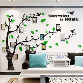 Unitendo 3D Acrylic Tree Wall Stickers Photo Frames FamilyTree Wall Decal Easy to Install &Apply DIY Photo Gallery Frame Decor Sticker Home Art Decor (Green Leaves-Left, L)
