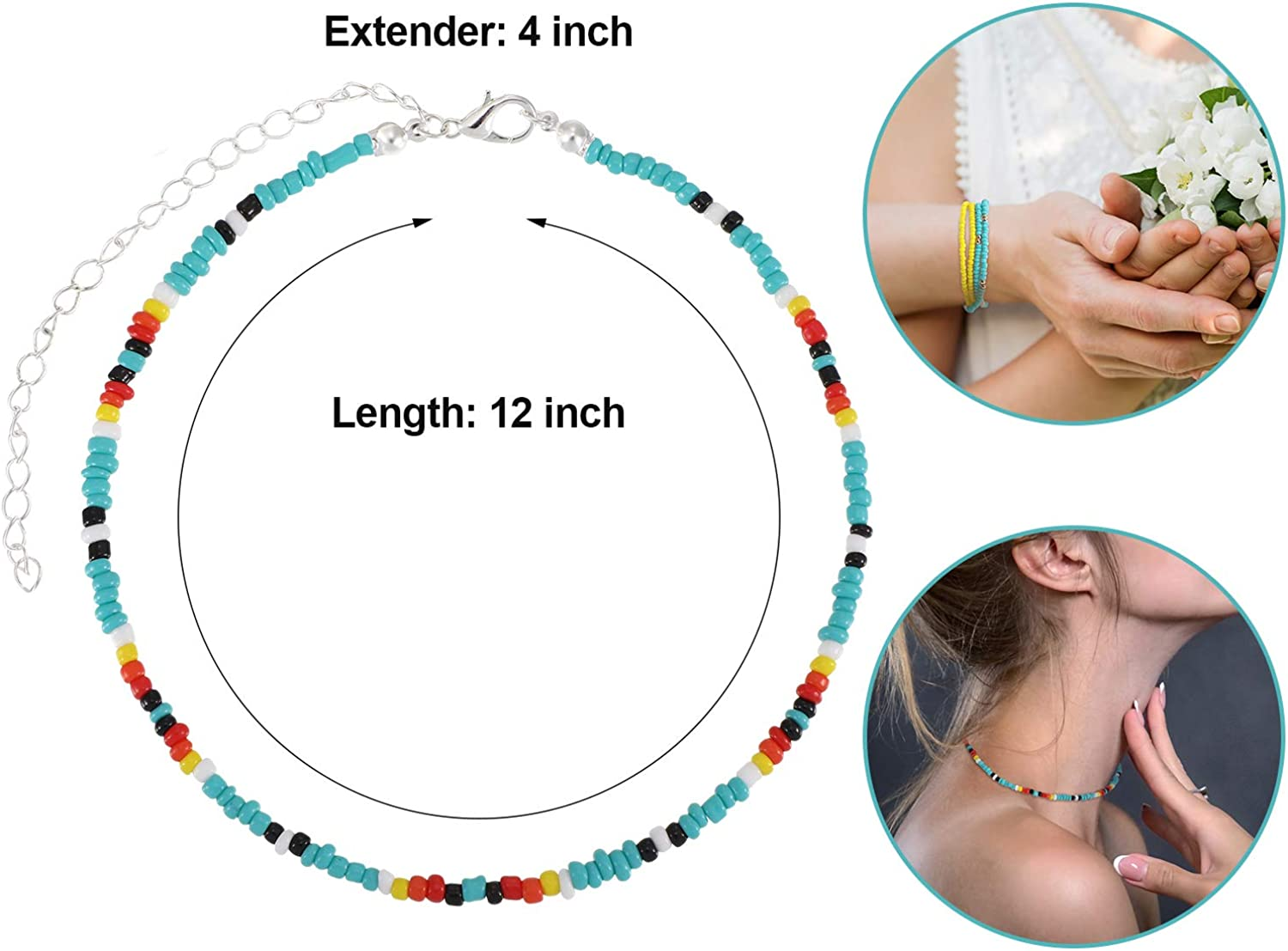 16 Pieces Boho Beads Choker Seed Beaded Choker Necklace Colorful Bead Necklace for Women Jewelry Gifts