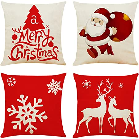 """New Christmas Decorative Cushion Cover 18/"""" Pillow Case Stunning Colours 45x45cm"""